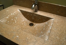Pressed wave sink / This is a bathroom sink done in our pressed style.  It has a wave shaped integral bowl.