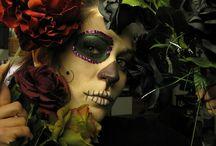 Catrinas día de los muertos / Catinas, Katrinas, Mexico, make up, skull, death, dia de los muertos, special effects, roses, updo, flowers / by Carlos Merchan