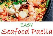 Paella: Love Seafood Paellas! / Paella is a great classic Spanish dish and fantastic way to bring the wonderful flavors of seafood together in a beautiful presentation.