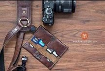 Handmade Leather Memory Card Holder / our CF/ SD card holder - A handmade leather Memory Card wallet for Photographers. A modular system attachable to the KAWA Pro Strap, giving you the ability to access your memory cards quickly. ( $49 ) info@kawaprogear.com