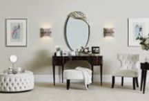 Dressing Room Inspiration • LuxDeco.com / Create a beautiful personal space by embracing curved furniture, pretty accessories and the ultimate oversized mirror. Discover more here: http://bit.ly/1MRQN6K