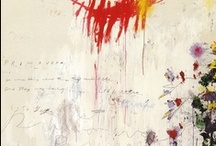 Cy Twombly / Twombly's work feels so fresh to me, mainly for its graffiti-like quality and light color palette punctuated with pops of color. His scribbly, layered text is what drew me in initially. The more time you spend with his huge canvases, the more they reveal. Also love his mixed media sculpture for its use of found materials and paleness.