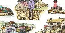 Stempelen - Harbour Village / Stempels van Hobby Art in Nederland verkrijgbaar bij Multihobby. Creëer je eigen landschap met deze stempelset