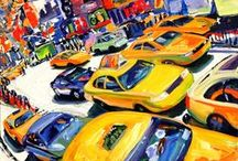 Tom Christopher Paintings / Artwork of expressionist painter Tom Christopher. Modern urban life, Manhattan, pedestrians, bicyclists, cabs, a focus on Times Square, the epicenter of this great metropolis.