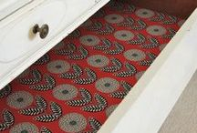 Upholstery Drawer Liners / A great use for upholstery remnants!  Add beauty, interest, and color to any drawer...  http://www.totofabrics.com/collections/clearance-fabrics