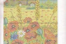 wzory do haftu - kwiaty, ogród / Wzory do haftowania. Ogród, kwiaty. Cross stitch Garden, flowers