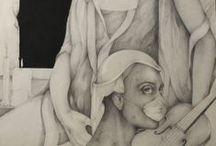 Retorica del sonno, matita e china su cartoncino, 150 X 80 cm