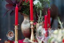 {Inspiration} Mariage bohème rouge, blanc et or
