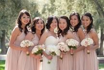 Bride & Bridesmaids   Bouquets   White & Pale Pink