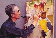 Artist/Norman Rockwell / Norman Percevel Rockwell (February 3, 1894 – November 8, 1978) was a 20th-century American painter and illustrator. His works enjoy a broad popular appeal in the United States for their reflection of American culture. Rockwell is most famous for the cover illustrations of everyday life scenarios he created for The Saturday Evening Post magazine for more than four decades. / by Mary Anne Wallman