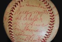 Sports-abilia / Card collections, autographed balls, photographs and other sports memorabilia at estate sales and auctions.