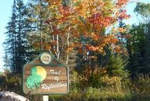 Trail of Reflections / River Point Resort & Outfitting is the only Ely, Minnesota-area property expansive enough to offer a private hiking trail featuring towering birch trees and pines, cliff faces, and a magnificent overlook above the South Kawishiwi River. http://www.riverpointresort.com/recreation.htm