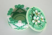 Quilling ~ 3D / boxes, eggs, dolls / by Midori Hisashige
