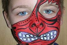 Face Painting: Red Designs / Got spare red face paint you're not sure what to do with? Take a look at these designs for inspiration!  You can see more of our classic colours here: http://bit.ly/VNAfxn