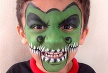 Face Painting: Green Designs / Got spare green face paint you're not sure what to do with? Take a look at these designs for inspiration!  You can see more of our classic colours here: http://bit.ly/VNAfxn
