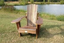 """Adirondack Chairs / Barnwood adirondack chairs made from barn red and white 1"""" thick pine siding.  Let us know if you want one, we are prototyping cup holders, a side table, and a two seater to go with them."""