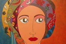 women portraits, paintings by Olympia Matraki and photo portraits of Frida Kahlo / women portraits on canvas, painting, Olympia Matraki
