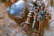 "Bead Soup 5 - skeleton key focal / visual word association - ""key"" words :) skeleton key, steampunk, jailors ring, key to my heart, davy jones, locker, locket, pirates - captain jack, calypso, penelope cruz, black pearl The Key to my Heart is now available in  my Etsy -  WindDancerStudios"