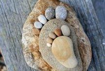 Kameny,stones / Dekorace malované,obháčkované