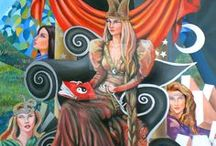 my tarot deck / this deck is composed by 22 major Arcana and 56 minor Arcana that are painted by me. oil painted on panel 50x70 cm, 28x20 in.  and oil painted on cardboard 33x25 cm, 13x9,8 in.