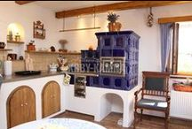 kachlová kamna - kachlový sporák - kuchyňská kamna / Kamna, kachlová kamna, pec, kachlový sporák, kachláky, kuchyňská kamna