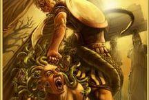 Mitologia / «Rea, entregada a Cronos, tuvo famosos hijos: Hestia, Deméter, Hera de áureas sandalias, el poderoso Hades que reside bajo la tierra con implacable corazón, el resonante Ennosigeo y el prudente Zeus, padre de dioses y hombres, por cuyo trueno tiembla la anchurosa tierra.» Teogonía de Hesíodo
