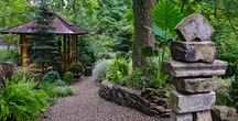 Serenity Gardens / Peaceful landscaping, full of twists, turns, rocks, bridges, moss, and greenery