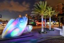 Eco Fish Holiday Display / Fort Lauderdale Beach has a new centerpiece constructed of 20,000 recycled bottles, stands 20 ft. tall and is illuminated with colored lights. The ECO Fish will be on display at the HUB located at A1A and Las Olas Blvd, until February.