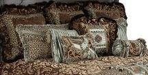 """ARISTOCAT LUXURY BEDDING / The Aristocat collection combines milk chocolate colored cut velvet with a fun leopard print, soothing spa green crushed silks, and a rich faux mink.  Each piece is detailed - """"collage"""" piecing on the pillows, to the added jeweled piece on the back euros make set fabulous! Our over sized bedding is designed to fit the larger beds of today with ample drop on both the duvet and the dust skirt. Aristocat set includes: duvet, skirt, 3 ruffled euros, 2 brush fringe euros and 5 decorative pillows."""