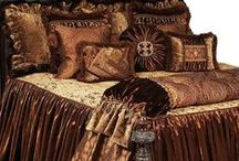 LUXURY BRUSSELS BEDDING / Brussels Luxury Bedding Collection designed in gold toned cut velvet damask mixed with beautiful bronze velvet and a coordinating print that almost glimmers. The pillows combine faux mink with beads, brush fringe, braids and the most beautiful Swarovski crystal medallions! Our over sized bedding is designed to fit the larger beds of today with ample drop on both the duvet and the dust skirt.  Brussels set includes: duvet, skirt, 3 ruffled euros, 2 brush fringe euros and 5 decorative pillows.