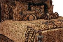 LUXURY MADAGASCAR BEDDING / Madagascar Luxury Bedding Collection is a unique design of harlequin and leopard cut velvet, damask chenille, woven tiger print - embellished with chunky medallions, iridescent black feathers, beads and metal pieces . Our over sized bedding is designed to fit the larger beds of today with ample drop on both the duvet and the dust skirt.  Madagascar set includes: duvet, skirt, 3 ruffled euros, 2 brush fringe euros and 5 decorative pillows.