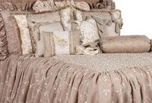 ATHENS LUXURY BEDDING / Athens Luxury Bedding combines an array of linens to create a shabby chic look with a distinctive Reilly-Chance twist. The fabrics themselves are detailed with small rhinestones, ribbon scrolls, tiny pearls, and embroidered vines with ruffles, brush fringe and design details.  Our over sized bedding is designed to fit the larger beds of today with ample drop on both the duvet and the dust skirt.  Athens set includes: duvet, skirt, 3 ruffled euros, 2 brush fringe euros and 5 decorative pillows.