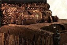 LUXURY BEDDING OPULENCE / Order today, yours in about a week!  The Opulence luxury bedding collection combines a palette of rich chocolate tones in soft chenilles, velvet, silks and a faux mink fur. The pillows are embellished with beautiful beads, tassel fringe, braids and Swavorski crystals. Design elements combine here to create a rich look that is both feminine and masculine.