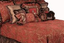 LUXURY BEDDING WESTBURY II / The Westbury II luxury bedding collection combines a deep red and chocolate chenille pattern, silk, crushed velvet, & faux mink to create an extravagant look. The fur ruffles, beaded cross. and detailing on the pillows create  a decadent Old World design!  Our over sized bedding is designed to fit the larger beds of today with ample drop on both the duvet and the dust skirt.  Westbury II set includes: duvet, skirt, 3 ruffled euros, 2 brush fringe euros and 5 decorative pillows.