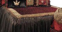 Luxury Bedding CAMELOT by Reilly-Chance Collection / The Camelot Luxury Bedding collection combines a palette of rich dark chocolate with deep red and animal prints. The pillows are embellished with beautiful beads, tassel fringe, braids and Crown Medallions covered in Swarovski crystals. Design elements combine here to create a rich look fit for any Castle. Our over sized bedding is designed to fit the larger beds of today with ample drop on both the duvet and the dust skirt.