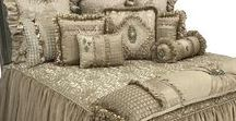 Exquisite Luxury Bedding by Reilly-Chance Collection / The Exquisite Luxury Bedding by Reilly-Chance Collection combines several soft neutral tones that range from creamy beige, taupe, a hint of sand and a touch of light gold, for a look and feel that is both elegant and inviting. The jacquard pattern, along with the soft velvet, embroidered organza,faux leather accents, the embellishments of beads, fringe and Swarovski Crystal come together like a fine piece of jewelry shimmering in different shades from any angle. Samples Available!