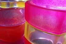 My products / I make colorful resin jewelry.  Addicted to bold brite colors that look like candy.