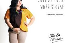 2015 - Cassidy Tulip Warp Blouse / Color blocking blouse which specially designed for sophisticated curvy women originally made by Indonesian Designer & Local Brand: Ella Es Bonita.