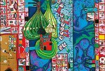 Friedensreich Hundertwasser / Friedensreich Regentag Dunkelbunt Hundertwasser (December 15, 1928 – February 19, 2000) was an Austrian artist (who later took on New Zealand citizenship). Born Friedrich Stowasser in Vienna, he became one of the best-known contemporary Austrian artists by the end of the 20th century. / by Sonja Hannon