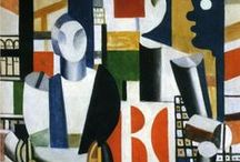 Fernand Leger /  1881- 1955. French painter and designer. After passing through various early influences he turned to Cubism in 1909. Although he is regarded as one of the major figures of the movement, he always stood somewhat apart from its central course: he disjointed forms but did not fragment them in the manner of Braque and Picasso, preferring bold tubular shapes (he was for a time known as a 'tubist').  / by Sonja Hannon