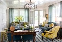 Great Room / French Blue, Yellow/Green, White, Grey, Taupe, Gold, Silver