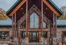 Hybrid Log & Stone Home / This hybrid log home features a lot of maintenance free stone outside the home while showcasing the log & wood components inside the home.  For information on how to get us involved with your new home, give us a call at 1-800-270-5025. If it's after hours, then enjoy our website at www.GoldenEagleLogHomes.com