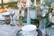 Tablescape / Table settings for celebrations and festive dinners.