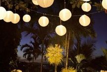 Urban Outdoor Wedding Party / candle lights and lanterns, small outdoor party decoration ideas