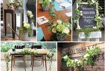 ブーケ・会場装花 [ ナチュラルグリーン ] natural green wedding / ブーケや会場装花、花冠等のウェディングフラワーを中心に、ケーキ、ドレス、招待状、シューズ、アクセサリー等、結婚式のイメージをカラー別にまとめたボードです。