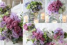 ブーケ・会場装花 [ 紫 パープル ] / ブーケや会場装花、花冠等のウェディングフラワーを中心に、ケーキ、ドレス、招待状、シューズ、アクセサリー等、結婚式のイメージをカラー別にまとめたボードです。