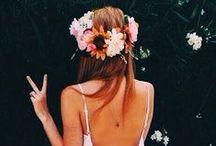 FLOWER CROWNS // COIFFURES DE FLEURS / Flowers crown and flowers braid //  Idées coiffures avec fleurs, couronnes de fleurs