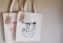 Silkscreen Printing Sloth bags / my original product. For all Sloth lovers;)