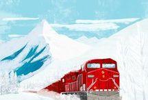 A train running through the snow / Children's book idea