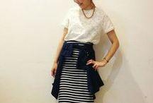 Striped Skirt Outfits / 定番「ボーダータイトスカート」:定番のボーダー柄ですがここ最近店頭ではボーダー柄のタイトスカートやペンシルスカートを見かけます。定番になりがちなアイテムですが色や合わせるアイテムによってスポーティー、ガーリー、カジュアル、甘辛Mix、フェミニン、大人可愛い等ファッションのテイストは無限!